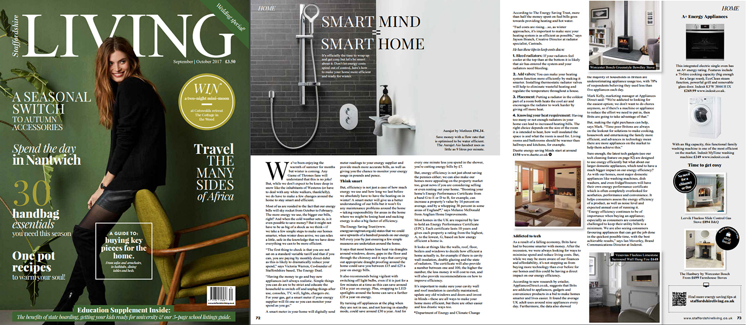 Staffordshire Living Magazine, August 2017. Article about living smart with efficient heating systems using cast iron radiators.