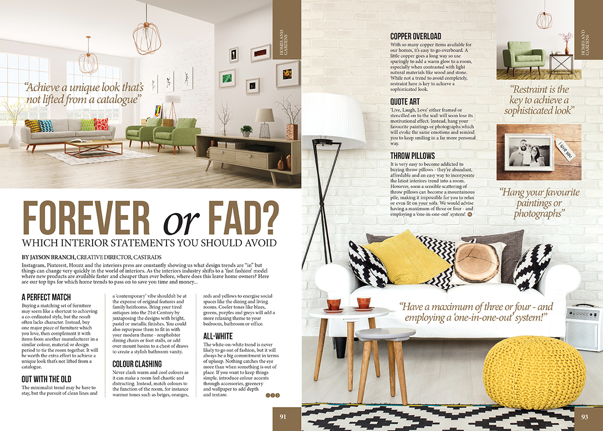 Northern Life Magazine, August 2017. Article on which interior statements to avoid and which to keep.