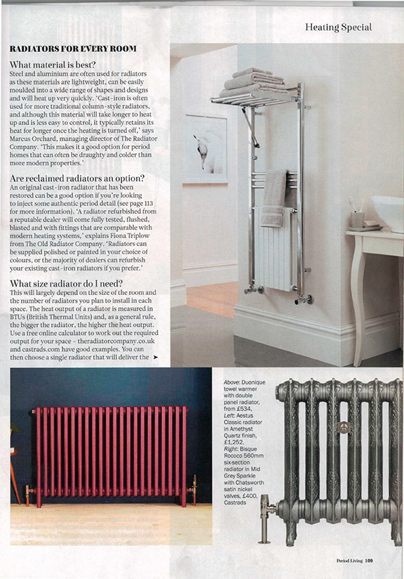 Period Living, November 2017. Page from magazine showing radiators for every room. cast iron radiator, steel radiator and towel warmer.