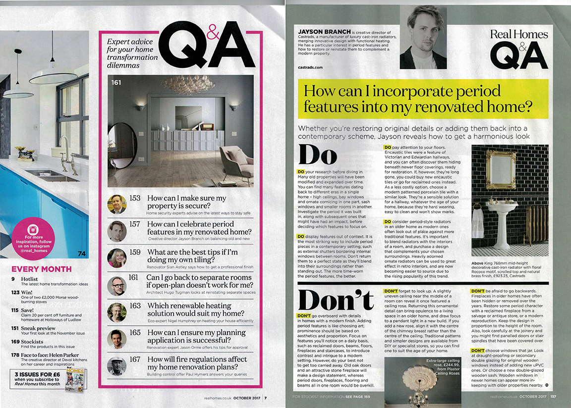 RealHomes Magazine, October 2017. Questions and answers on Incorporating period features in a renovated home.