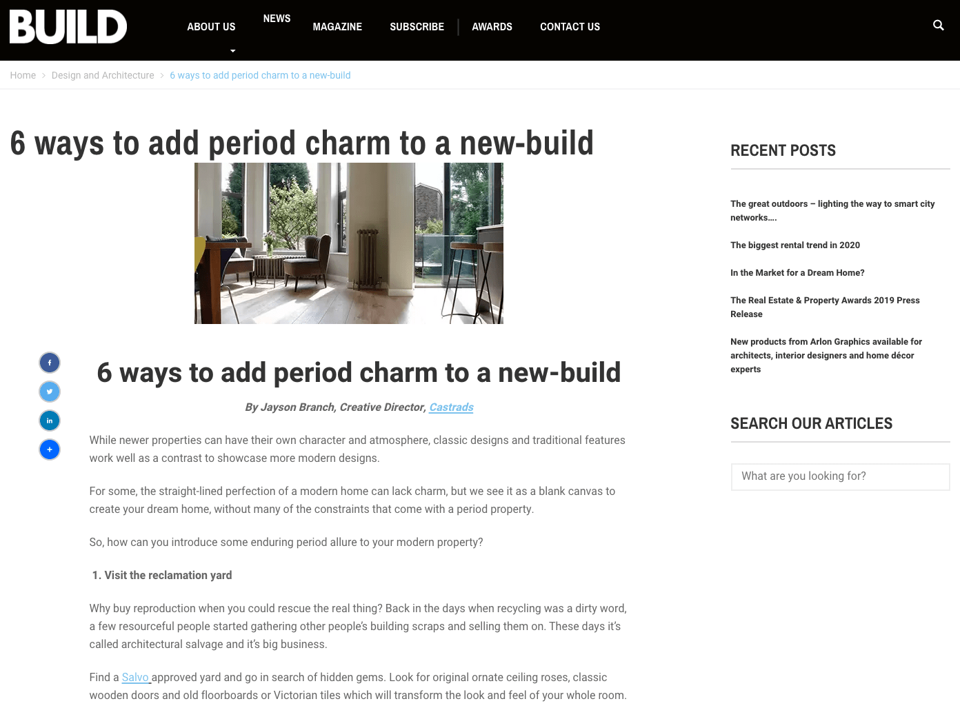 Build Review, June 2018. Article highlighting 6 ways to add period charm to a new-build.