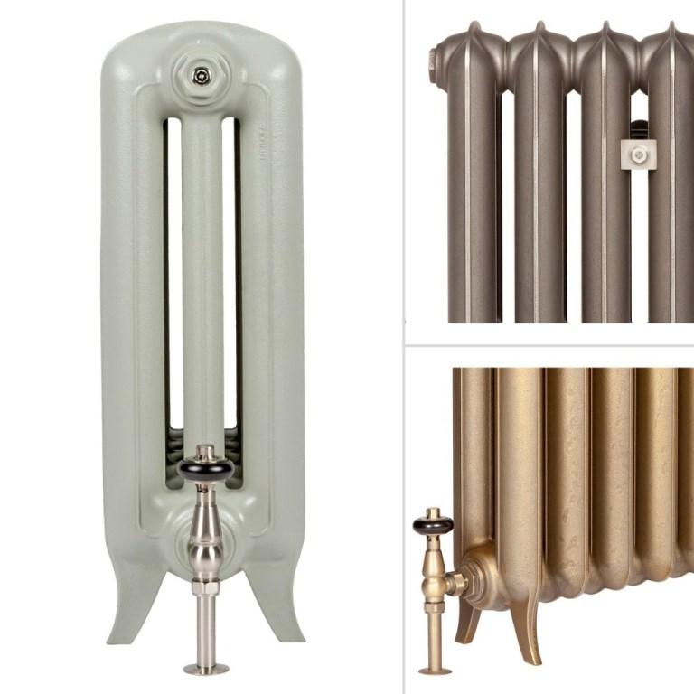 Elegant cast iron radiators with narrow feet