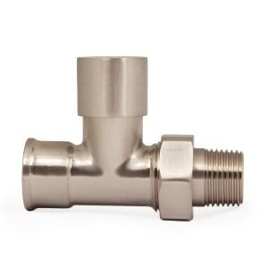 Half inch NPT FIP hydronic lockshield valve in satin nickel finish