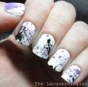 purple & black splatter nail art