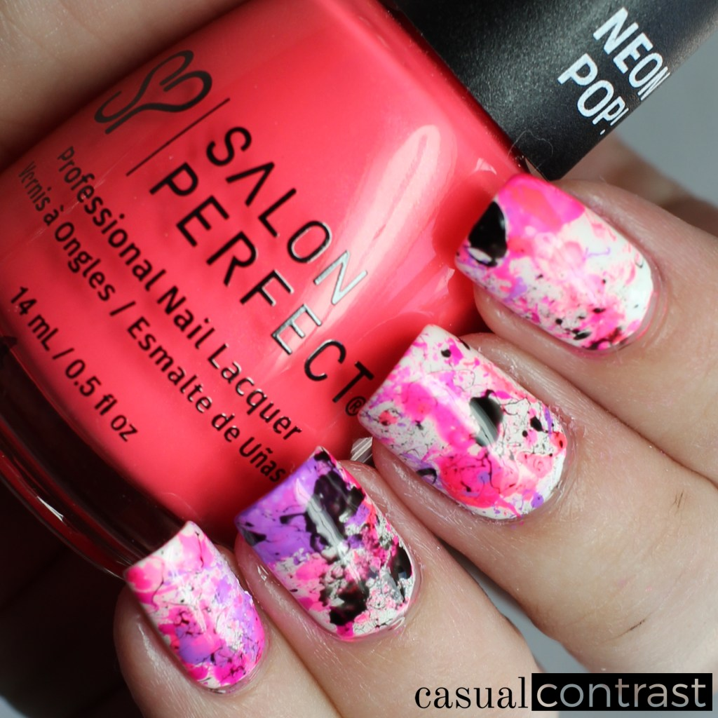 Neon splatter nail art featuring salon perfect neon pop shades collection splatter nail art casual contrast prinsesfo Image collections