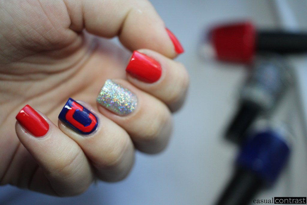 Cleveland Indians Nail Art Manicure • Casual Contrast