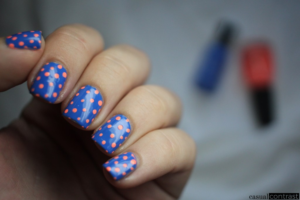 Back to Basics: Pacific Blue Polka Dots Nail Art Manicure • Casual Contrast