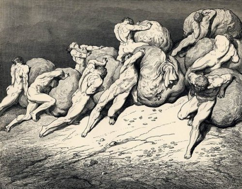 Gustave Doré: Canto VII—Hoarders and Wasters, from Dante's Inferno