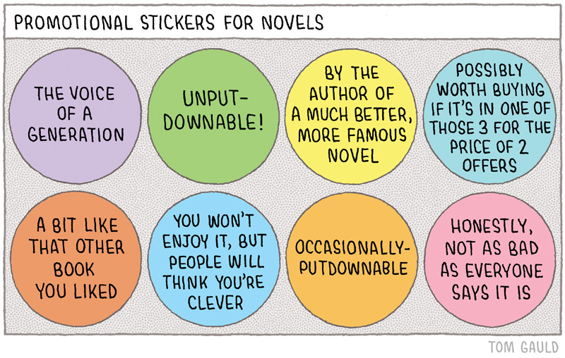 Promotional stickers for novels tom gauld