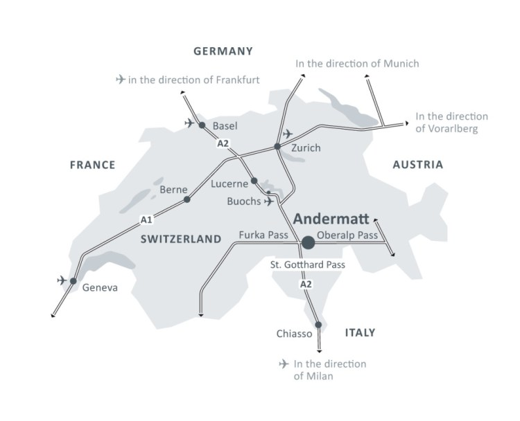 Map of Andermatt Swiss Alps