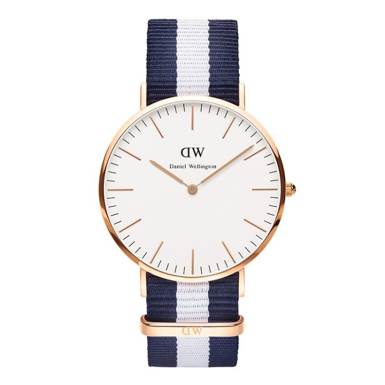 Daniel Wellington Men's Classic Glasgow 0204DW Multicolor Cloth Quartz Watch with White Dial