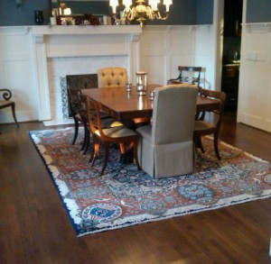 rug under kitchen table designs what size to use for your dining room