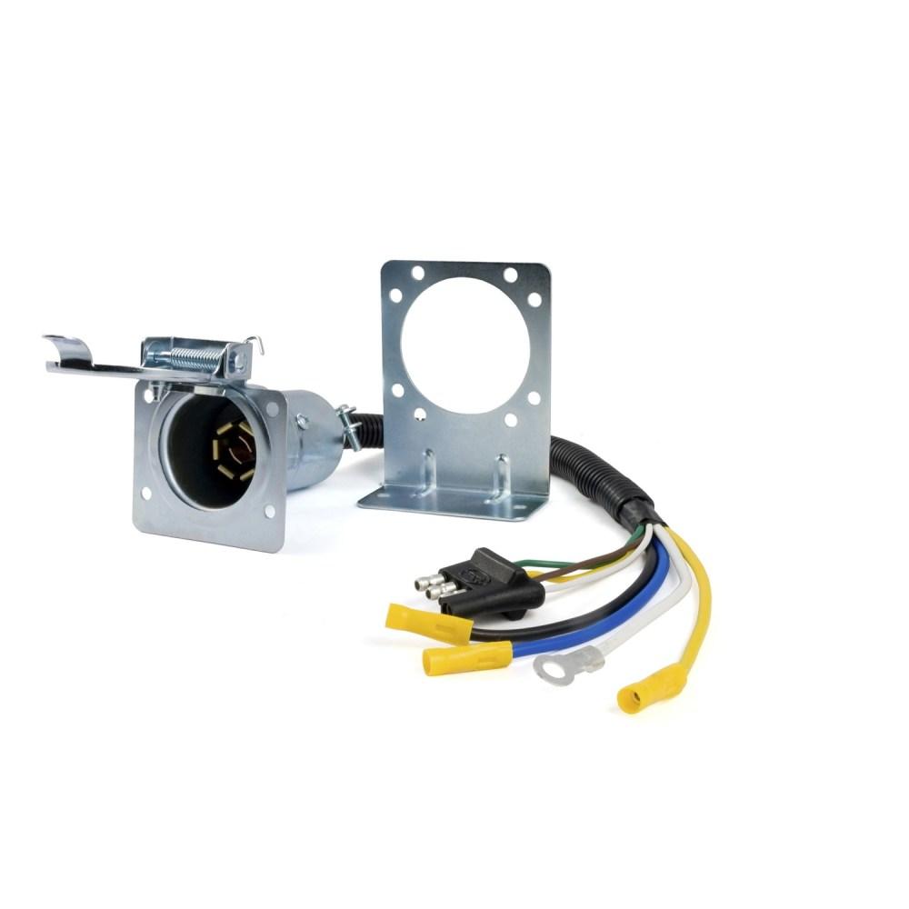 medium resolution of curt manufacturing 57185 4 way flat to 7 way round rv 7 blade trailer wiring diagram featherlite stock trailer 7 way rv wiring diagram