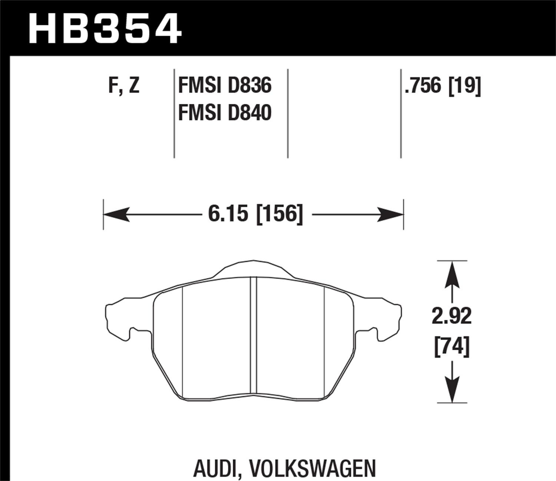 Hawk Performance HB354F.756A Disc Brake Pad Fits 9-5 A4 A4