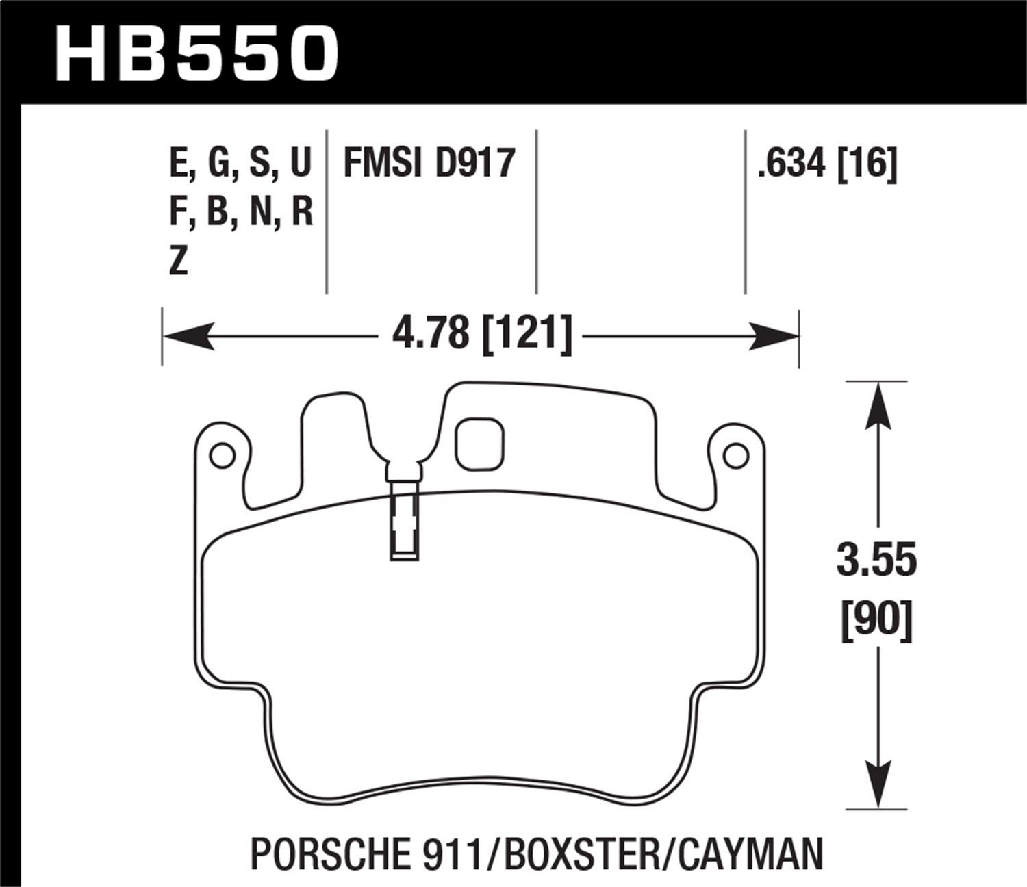 Hawk Performance Hb550f 634 Disc Brake Pad Fits 98 07 911