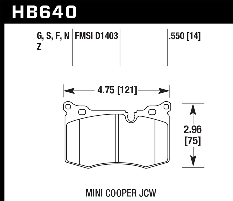 Hawk Performance HB640F.550 Disc Brake Pad For 09-14