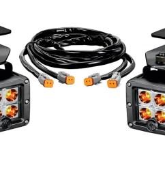 ford raptor led bumper light system spot beam 3 in rectangular amber black housing 3 watts w brackets and wiring harness 4 c3 lights  [ 1500 x 543 Pixel ]
