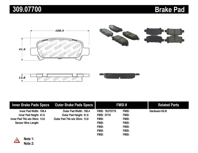 Stoptech 309 Stoptech Sport Brake Pads