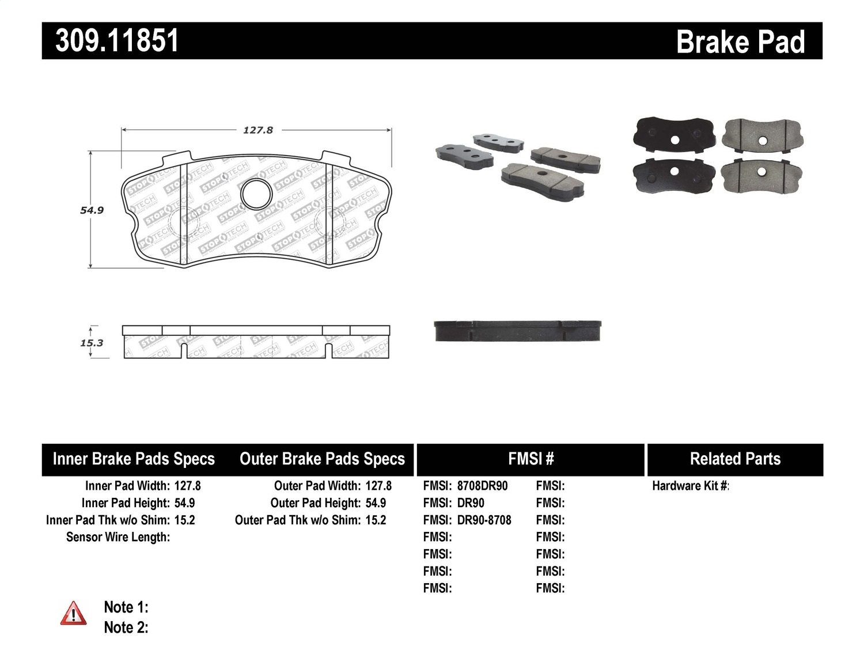 Stoptech 309 Stoptech Sport Brake Pads Fits 06 13 Corvette