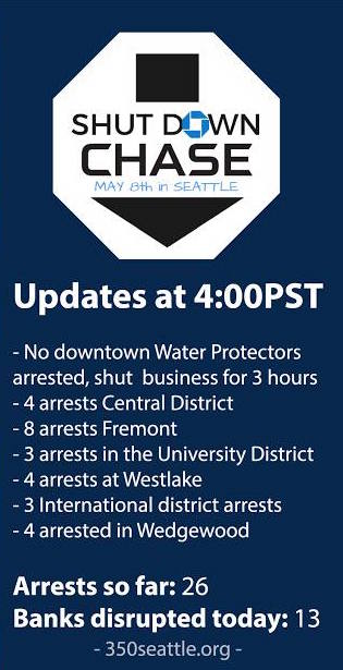 Seattle Climate Activists And Water Protectors Disrupted Or Shut Down 13  Branches Of Chase Bank Monday Afternoon To Pressure Chase Not To Finance  The ...