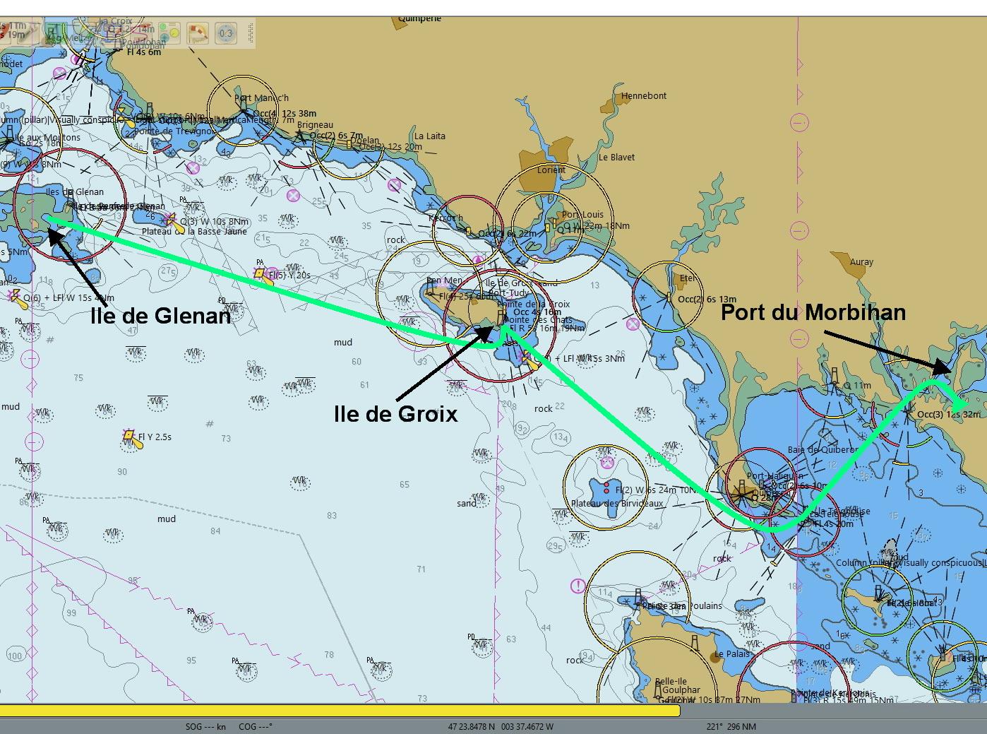 Route 'Iles de Glenan' naar 'Golfe du Morbihan'
