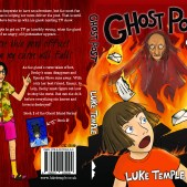 Cover of Ghost Post, the first of the Ghsot Island Series, with Becky running from Walter Anion, the ghost on the front, and Spooky Steve with his frankly disgusting taste in clothes on the back.