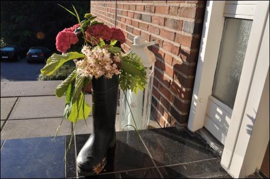 Gummistøvle med blomster