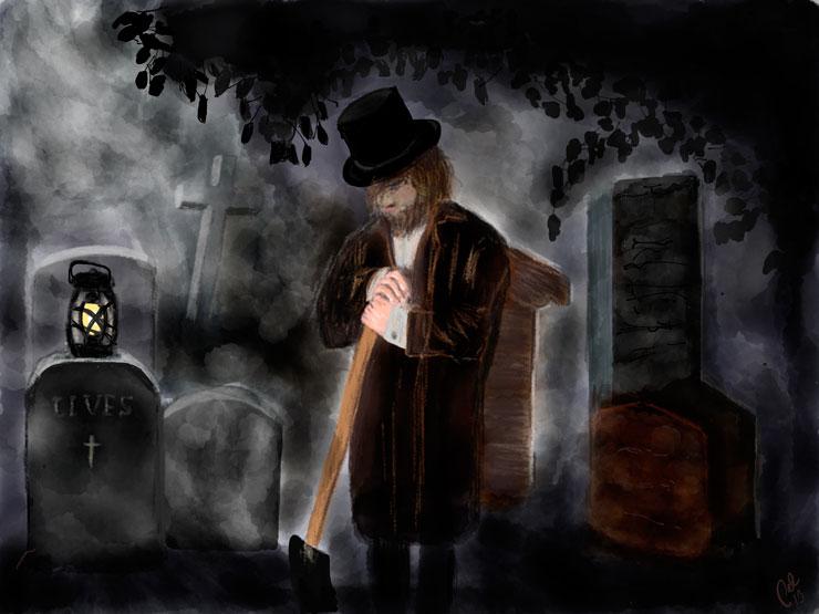 18  talts kirkegård om natten i let tåge