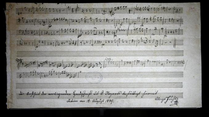 A musical score handwritten by Wolfgang Amadeus Mozart is displayed in Nantes, France. Stephane MaheReuters