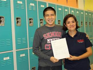Harmony School of Innovation-Fort Worth, Texas senior, Miguel Padilla and his teacher Angela Garcia.