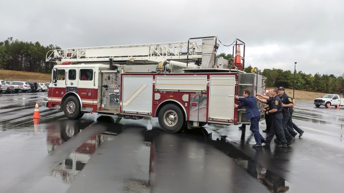 City of Hickory Officials Push Fire Truck