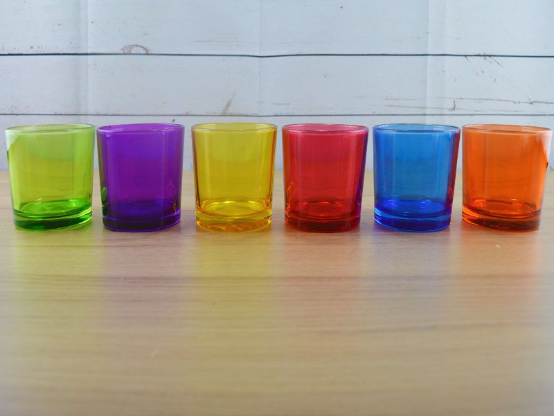 Set de 6 vasos de cristal coloridos pequeos para