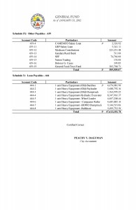 Trial Balance as of January 2012