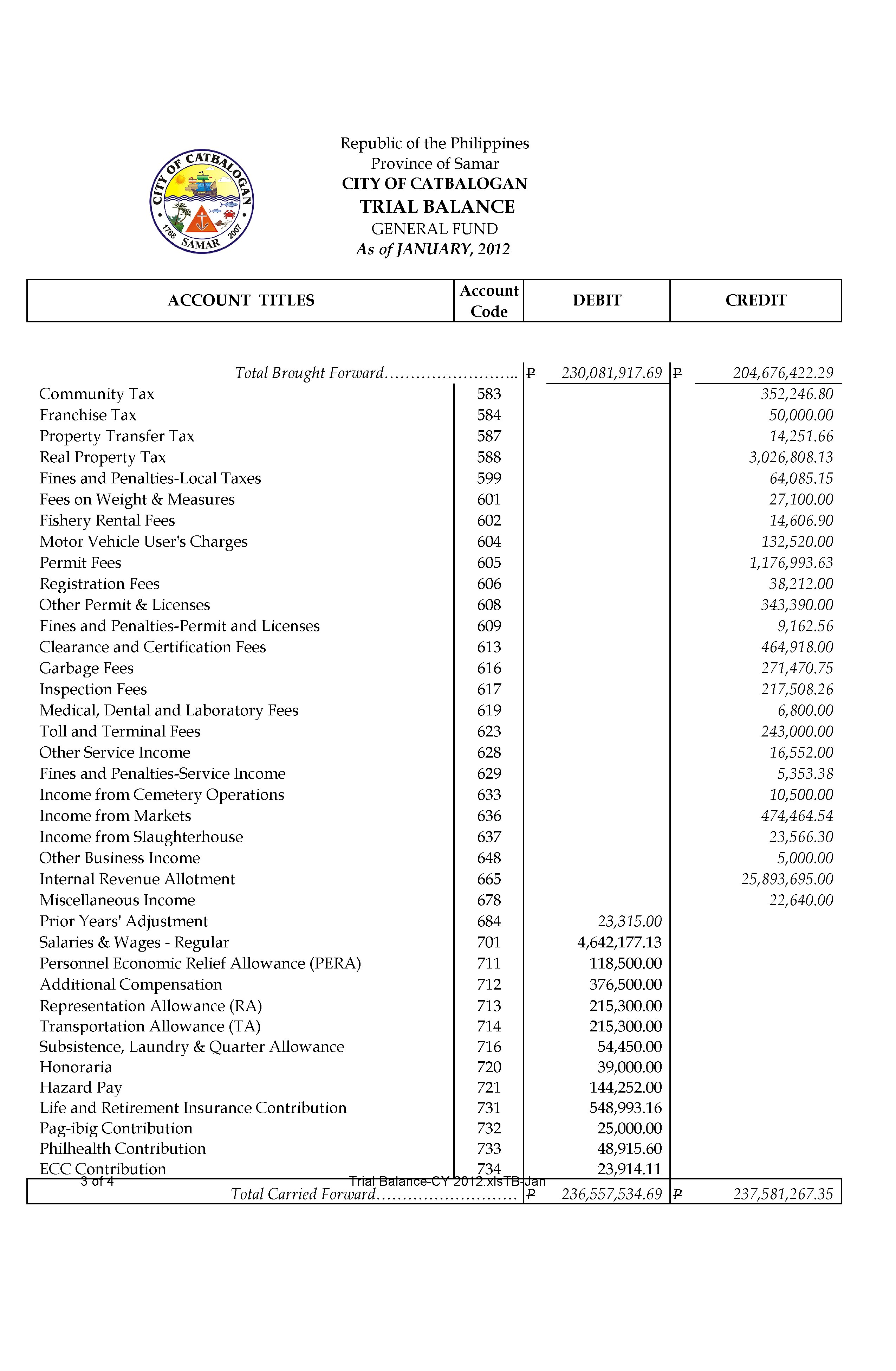 Trial Balance For Form 3