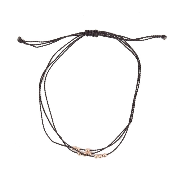 Friendship Bracelet With Rose Gold Beads Black