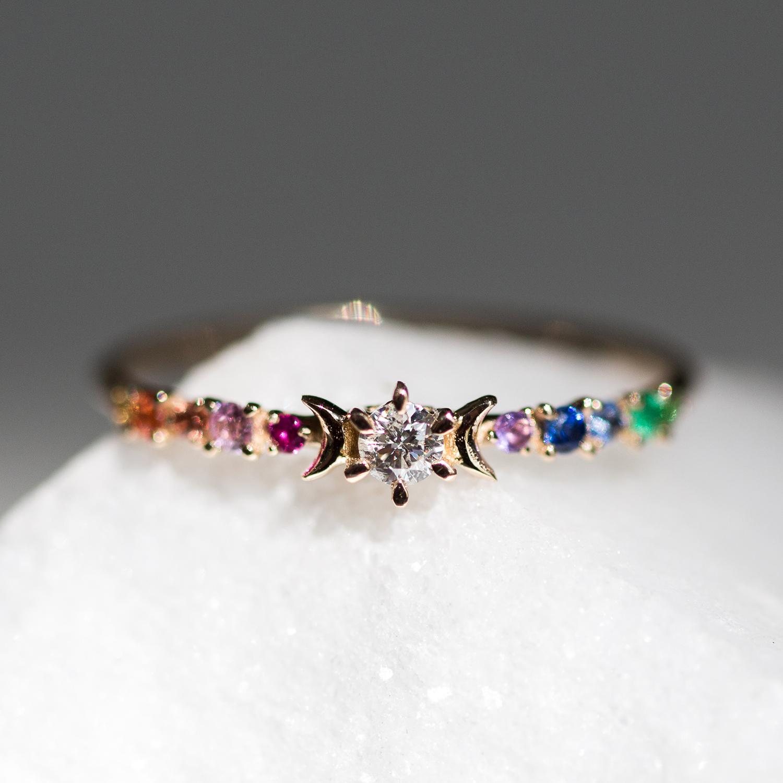 Rainbow Stardust Ring Wedding Amp Engagement Catbird
