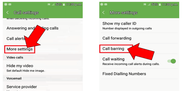 call block call barring option