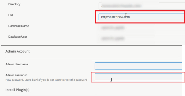 wordpress user name and password