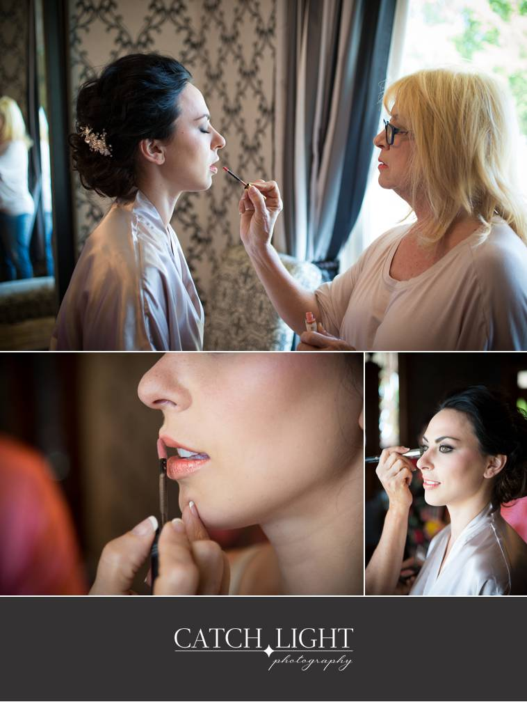 Bride getting makeup done in preparation of her wedding day