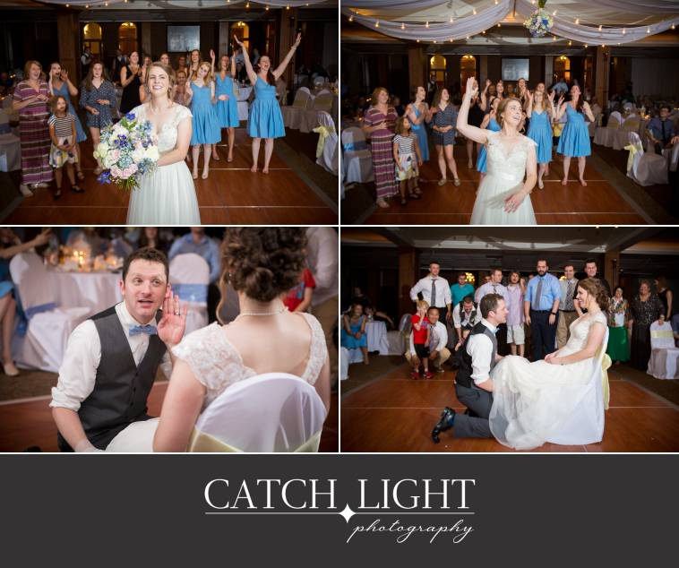 Wedding reception bouquet toss & garter toss