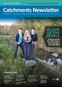 Young Scientists from Kanturk on the cover of the March 2016 Catchments Newsletter