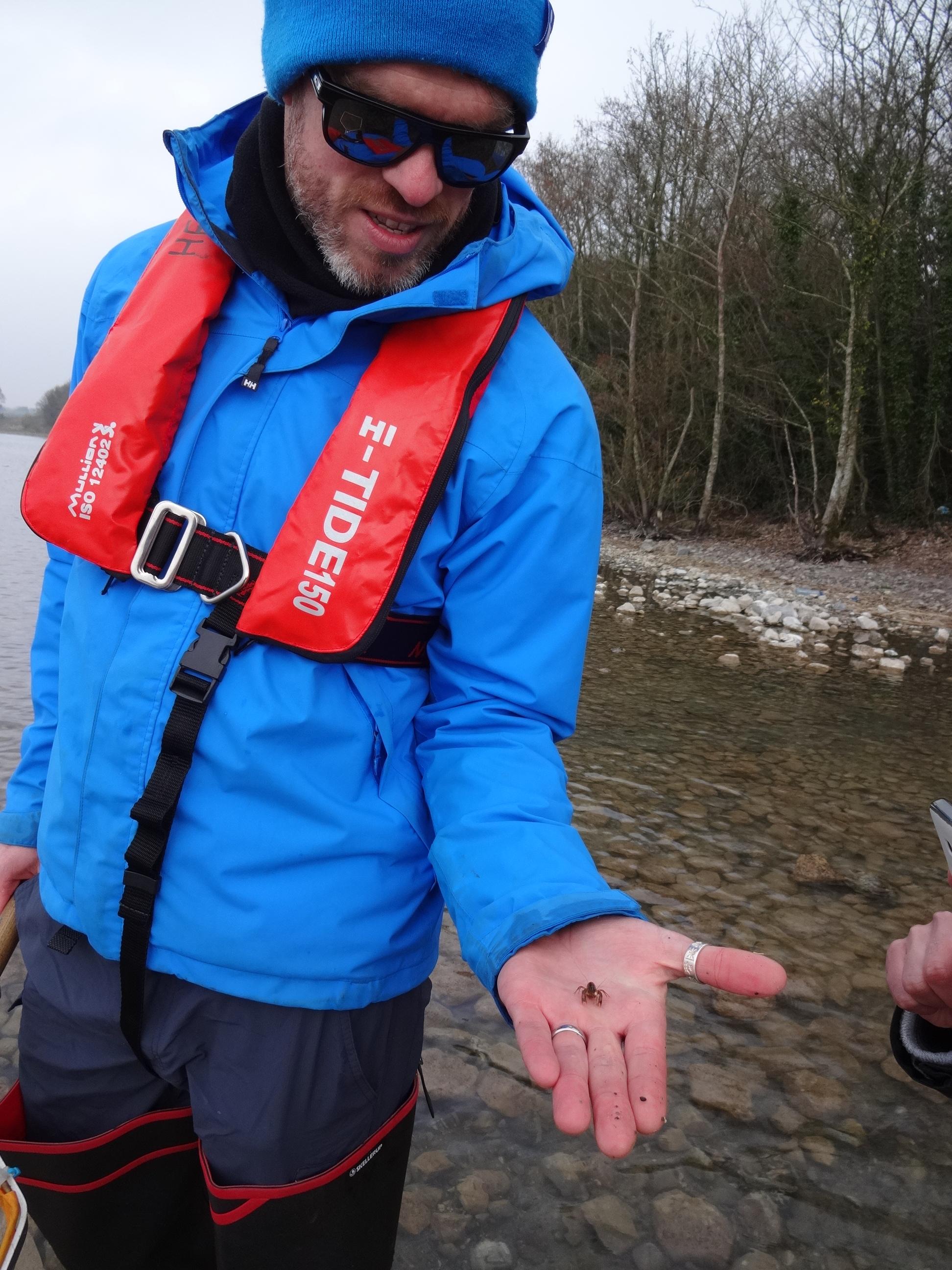 Hugh Feeley holding Crayfish