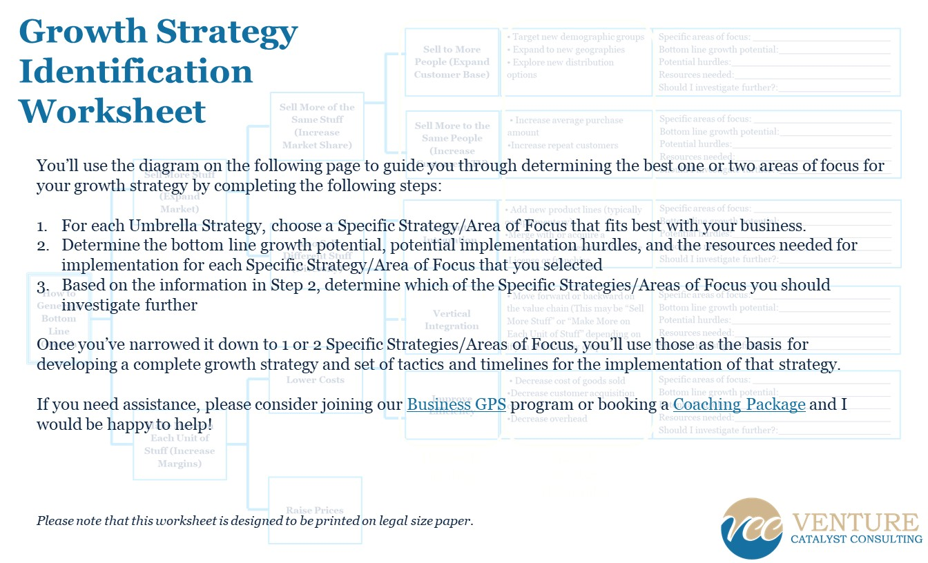 Growth Strategy Identification Worksheet Venture