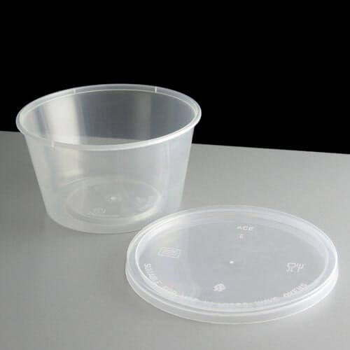 t16 clear round plastic container and lid