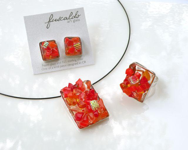 Dije anillo y aretes. Colección texturas Rojos
