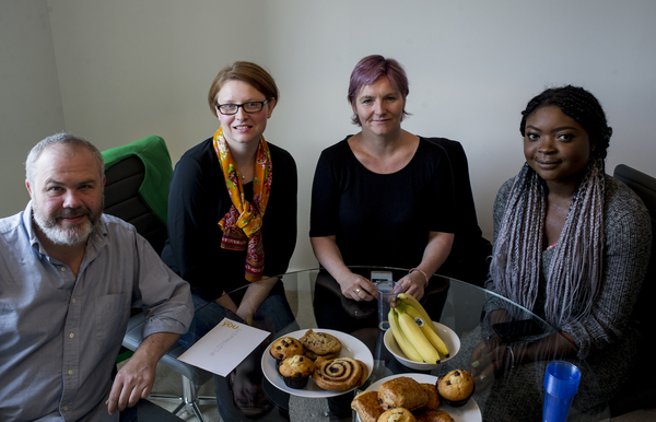 (L-R) Chris Osburn, Rebecca Thomson, Mariette Immaculate and Mariette Immaculate attend the L&Q Interactive Roundtable on Affordable Housing & Shared Ownership in London, hosted at the L&Q marketing suite in Lewisham, London, Tuesday, Sept. 29, 2015.