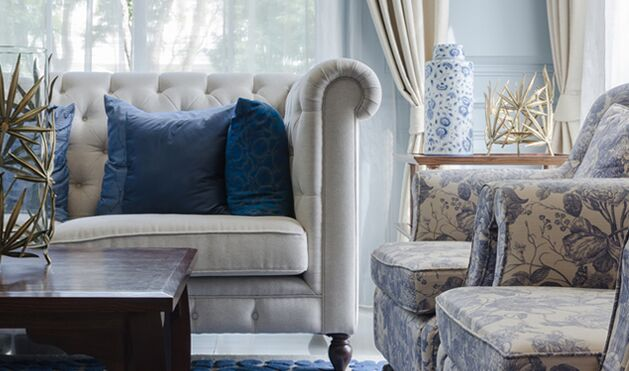 blue and grey livingroom furniture