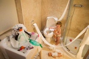 Toddler makes a mess of bathroom