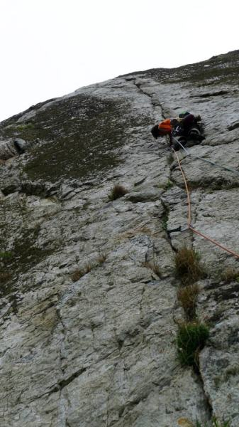 The Strand on the Upper Tier at Gogarth. We had to climb this famous route of which there is a famous poster of Henry Barber soloing. Nice work Henry. Anne Skidmore photo.