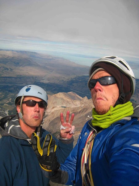 Maddog and Freddie after their third summit of the Care Bare Traverse of the Fitz Roy massif, Patagonia.